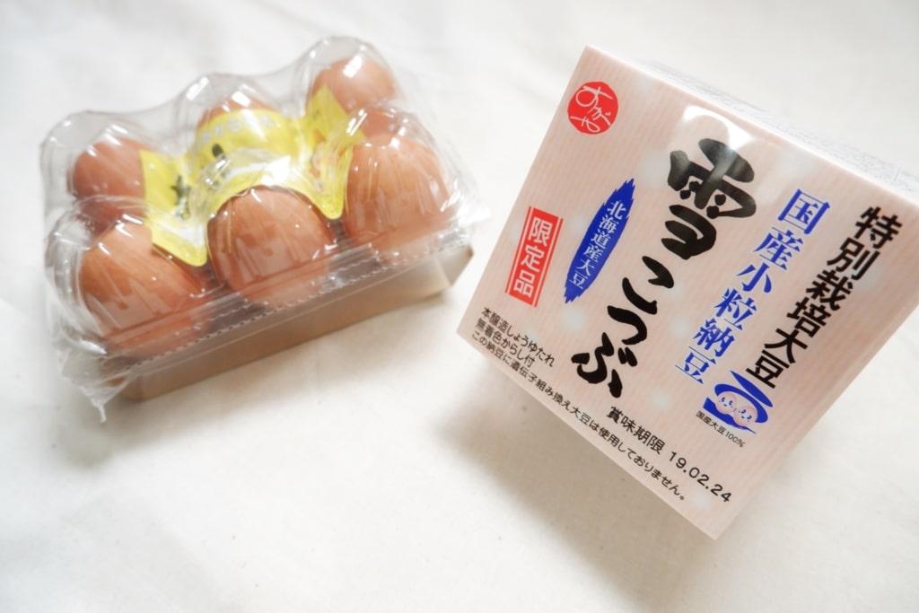 伊勢丹ドアの納豆と卵