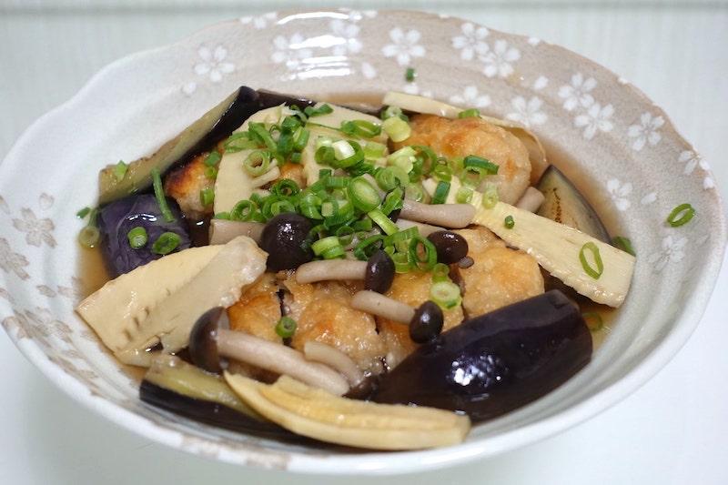 コープデリの大きな鶏竜田揚げと野菜の煮浸し