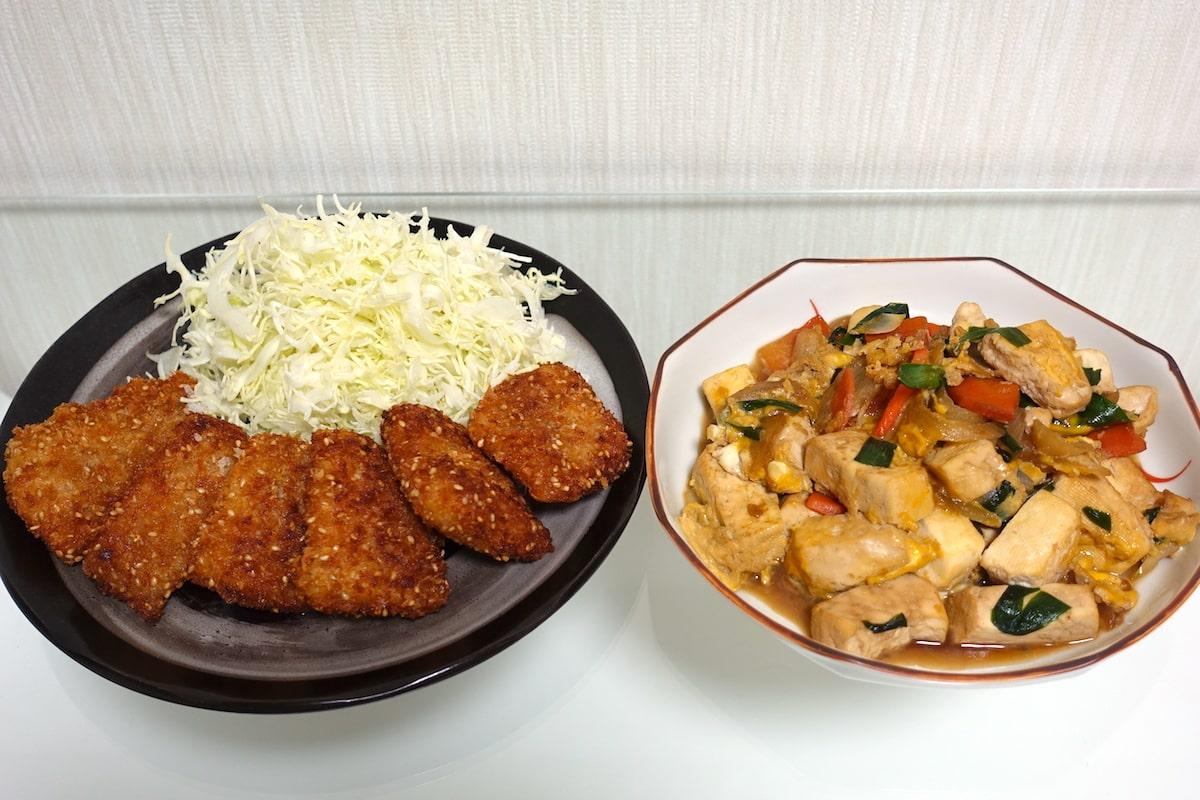 ヨシケイかれいのごま醤油フライといり豆腐